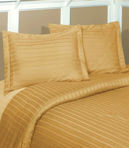 250 Thread Count Cotton Double Dobby Stripe Duvet Set, Twin, Gold front-306588