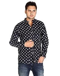 Indian Designs Cotton Designer Leaves Black Casual Shirt By Rajrang