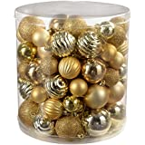 WeRChristmas 80-Piece Deluxe Variety Christmas Tree Baubles Decoration Pack, Gold