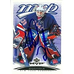 Buy Mike Dunham Autographed Hand Signed Hockey Card (New York Rangers) 2003 Upper Deck MVP #286 by Hall of Fame Memorabilia