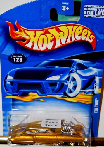 2002 - Mattel - Hot Wheels - Evil Twin (Gold Metallic) Gold Wheels - Rare Variant Card Dated 2000 - New - Out of Production - Limited Edition - Collectible - 1