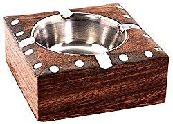 Woodstock Antique Ash Tray- 10X10X4 cms, Brown