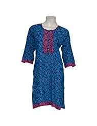 Nees Women Cotton Casual Beaded Straight Cut Kurti - B00QIHHIP4