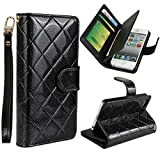 Vogue shop Leather Case with Wallet Compatible with Apple iPhone 5/5S ,Wallet Case,imported-PU Leather Case ,Cash,Credit Card Holder,Flip Cover Skin for iPhone 5/5S (black)