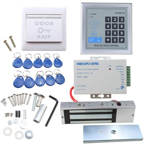 Image® Full Set Rfid Door Access Control System Kit With 500Kg 1100Lbs Electric Magnetic Lock 110-240V Ac To 12V Dc 3A 36W Power Supply Proximity Door Entry Keypad 10 Key Fobs Exit Button front-623837