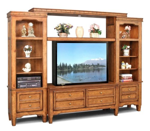 Entertainment Center Set in Rustic Country Oak - Country Classics - Lifestyle California