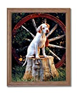Pointer Puppy Dog In Wagon Kids Room Animal Home Decor Wall Picture Oak Framed Art Print