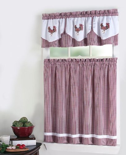 Country Kitchen Curtains Amazon Com: Click To Buy Rooster Kitchen Curtains: Rooster 3-Piece Tier And Valance Set, Red Check From Amazon