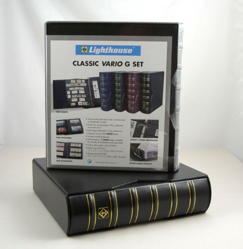 Lighthouse Vario-G Classic Binders with Slipcases, Black, Set of 2