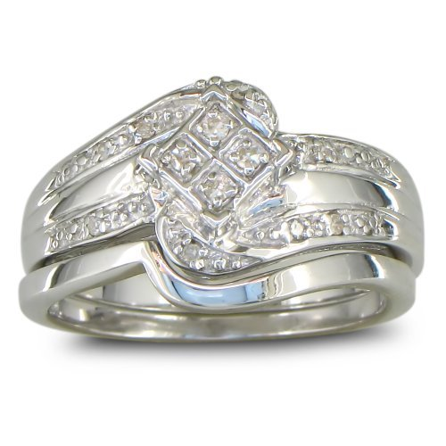 SuperJeweler Big Look Diamond Bridal Wedding Set with Band in Sterling Silver