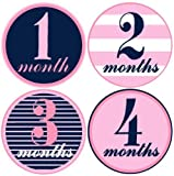 Mumsy Goose Baby Girl Monthly Milestone Stickers 1-12 Months Pink and Navy, Model: 5M-A18X-JFMP, Newborn & Baby Supply