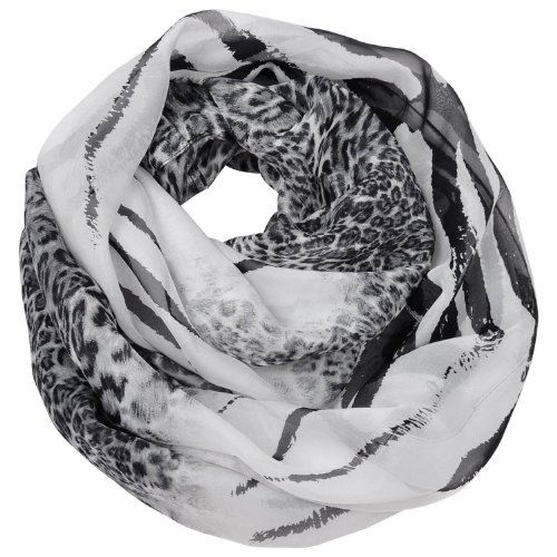 100% Silk Smooth And Soft Circle Ring Fashion Scarf Black Grey