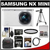 Samsung NX Mini Smart Wi-Fi Digital Camera with 9-27mm Lens & Flash (White) with 32GB Card + Case + Filter + Tripod + Accessory Kit