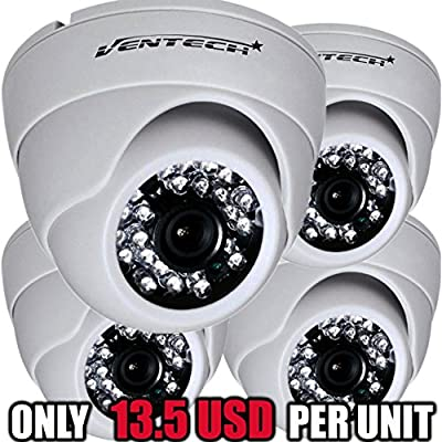 VENTECH (4 Pack) CCTV Security Dome Camera Color 1000tvl CMOS 24led IR cut Night Vision Home Surveillance 3.6mm Lens Indoor