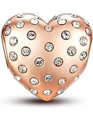 Glamulet Crystal Rose Gold Heart 925 Sterling Silver Charm Fits Pandora Bracelet