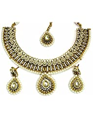 Shingar Jewellery Ksvk Jewels Antique Gold Plated Polki Kundan Look Necklace Set For Women - B00QFEOT0C