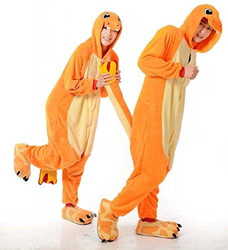 [Unisex Adult Charmander Kigurumi Animal Onesie Pajamas Costume Cosplay Clothing Sleepwear Romper] (Role Reversal Halloween Costumes)