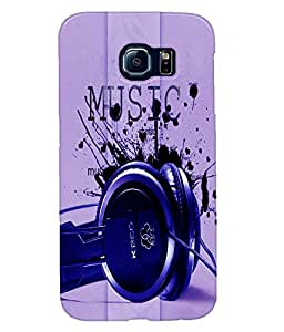 Fuson Music Blue Headphones Back Case Cover for SAMSUNG GALAXY S6 - D3708