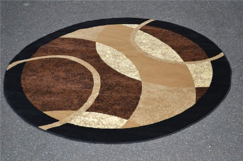 1052 brown 6 foot round area rug carpet modern abstract for Modern round area rugs