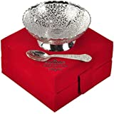 Silver Plated Brass Bowl With Spoon From The House Of IndianCraftVilla . Can Be Use As Kitchenware And Diwali...