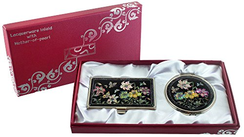 Mother Of Pearl Compact Mirror Business Credit Name Card Holder Set Stainless Steel Lily Design front-422112