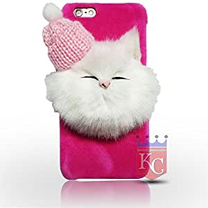 iPhone 6s Cases - Soft fluffy Fur Cartoon kitty with Woolen Cap iPhone 6s back cover for girls - Pink