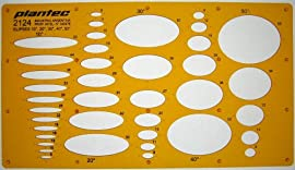 Ellipse Shapes 10 20 30 40 50 Degrees Symbols Drawing Drafting Template Stencil