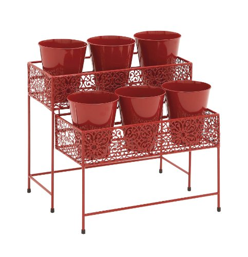 Benzara Eye-Catching Styled Metal 2 Tier Plant Stand Red (For Ti Plant compare prices)