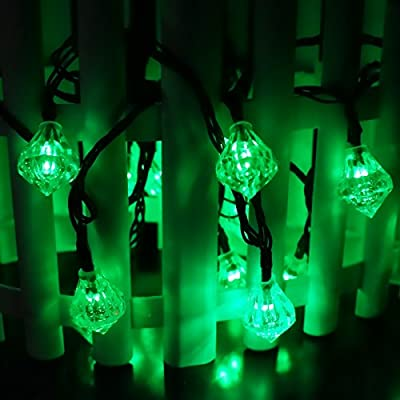 LED SopoTek 4.8meters 20Led bulbs 8Modes Solar powered Christmas Lights Diamond Shaped Globe Lighting Waterproof Outdoor Lights solar Fairy String Lights Ideal for Patio Garden Lawn Gate Yard (20LED Green color)