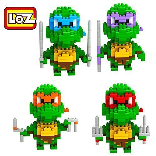 New 4 Box LOZ Diamond Block Teenage Mutant Ninja Turtles Toys 820pcs Parent-child Games Building Blocks Children's Educational Toys