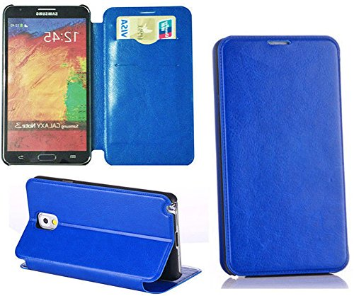 Images for myLife Ocean Blue {Sleek Design} Faux Leather (Card, Cash and ID Holder + Magnetic Closing) Slim Wallet for Galaxy Note 3 Smartphone by Samsung (External Textured Synthetic Leather with Magnetic Clip + Internal Secure Snap In Closure Hard Rubberized Bumper Holder)