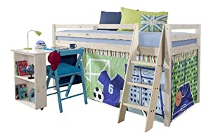 Cabin Bed with Desk in Sports Design , WHITEWASH Bed with Tent SPORTS