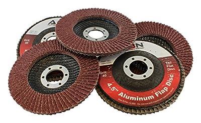 "ABN 4.5"" (4- ½"") x 7/8 T27 40 Grit Aluminum Oxide Flat Flap Disc Grinding Sanding Sandpaper Wheels 5 Pack from ABN"