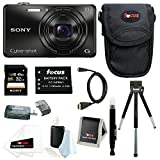 Sony DSC-WX220 DSCWX220/B 18.2 MP Digital Camera with 2.7-Inch LCD (Black) with Sony 32GB SDHC Card + Additional NP-BN1 Battery and Deluxe Accessory Bundle