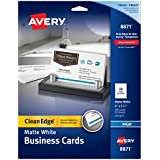 Avery Two-Side Printable Clean Edge Business Cards for Inkjet Printers, Matte, White, Pack of 200 (08871)