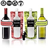 (2) On The Move Travel Foldable Wine Bottle To Go Flask Premium Kit W/ Perfect Pour® Spout Cap Heavy Duty Plastic Collapsible Flask For Wine - Holds Full 750 ml Bottle - Double Pack
