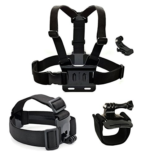 Luxebell Adjustable Chest Harness Wrist Strap Band Head Strap Mount with JHook for GoPro Hero4,Hero3+,Hero3,Hero2 & Hero Camera