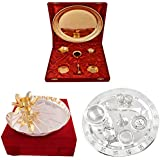 Gold Plated GL Pooja Thali Set And Silver,Gold Plated Lotus Pooja Thali And Silver Plated Swastika Pooja Set