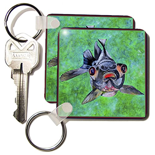 Kc_48473_1 Taiche - Acrylic Painting - Blackmoor Goldfish - Blackmoor Goldfish- Blackmoor Goldfish, Telescope Goldfish, Goldfish, Dragon Eye Goldfish - Key Chains - Set Of 2 Key Chains