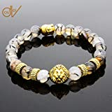 ERAWAN Men's Natural Black Lava Stone Bead Gold Lion Buddha Beaded Charm Bracelet 8mm EW sakcharn (Color: Black Lava Stone)