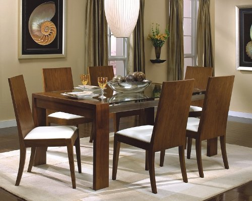 Cheap Dining Table with Glass Top in Rich Walnut – Coaster (VF_AZ00-28154×29139)