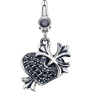 Sterling Silver Black CZ Heart and Cross Charm: 17X14 mm