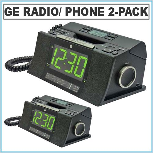 ge 29298fe1 corded bedroom phone with cid radio alarm clock 2 pack office products. Black Bedroom Furniture Sets. Home Design Ideas