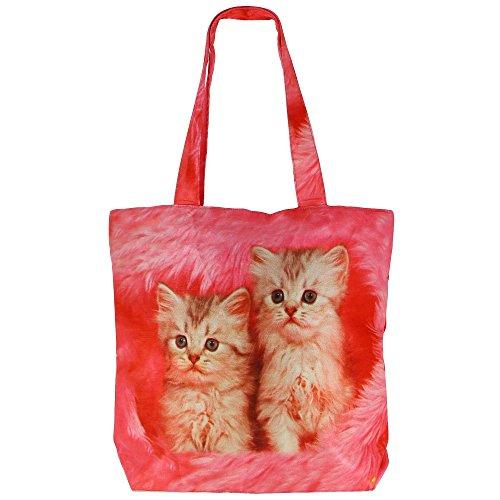 Digital stampato multiuso Moda Shopping bag - Gatti colorato Faux Seta Borsa con Polysatin Fodera