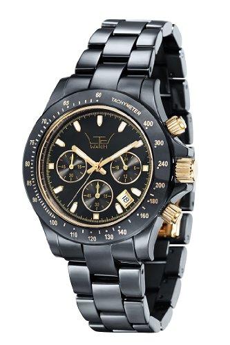 LTD Watch Ceramic Chrono Unisex Quartz Watch with Black Dial Chronograph Display and Black Ceramic Strap LTD 030617