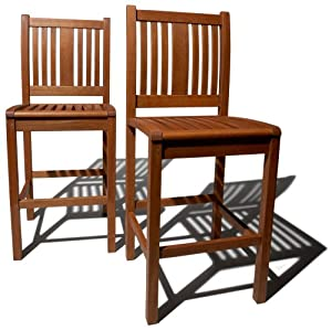 Strathwood Bradford All-Weather Hardwood Bar Chair, Set of 2