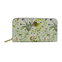 Tory Burch Botanical Flower Ivory Multi Color Zip Continental Wallet New