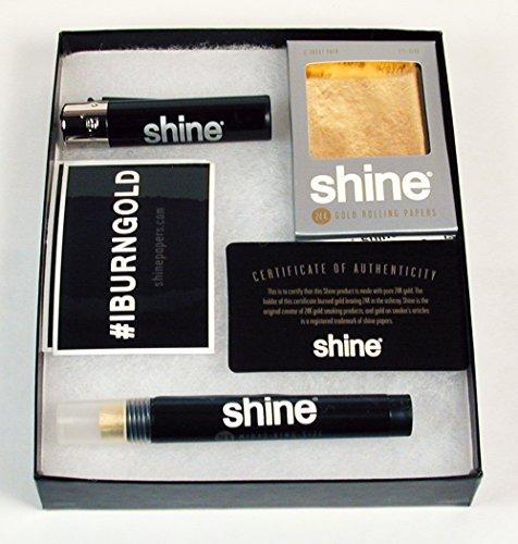 Shine 24K Gold Rolling Paper Gift Box & Bonus Greeting Card