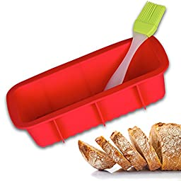 Bread Pan - Best Bakeware for Baking Loaf and Large Cakes - Includes a Free Basting Brush - Commercial Grade Non Stick Silicone Mold - Dark Red