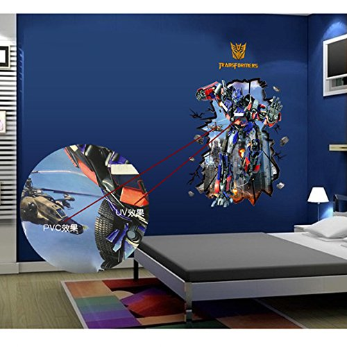 3D Transformers Optimus Prime Wall Sticker Decal Mural Removable Boys Room Wall Decor (Transformers Optimus Prime)